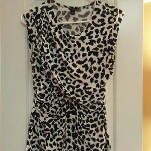 Ann Taylor Black & White Cheetah Print Blouse
